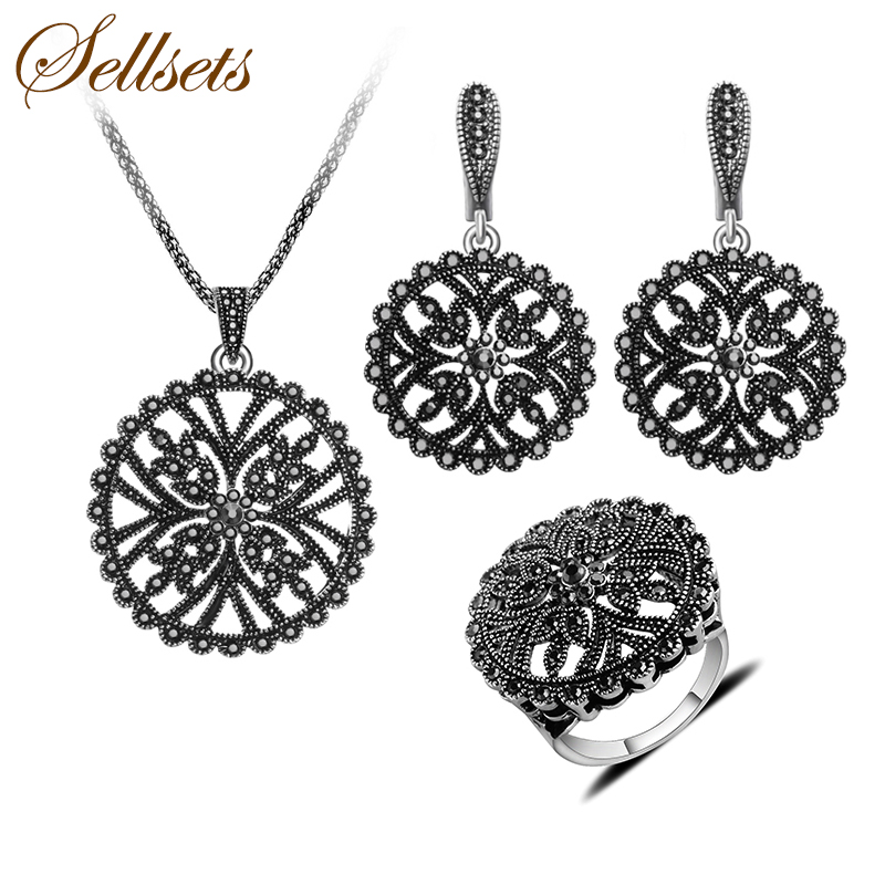 Sellsets Fashion Jewellery Antique Silver Color Vintage Black Rhinestone Jewelry Sets For Women 2016 cross shape rhinestone hollow out silver plated jewellery sets stylish indian wholesale fashionable jewellery sets