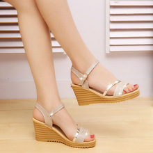 Ou Mo brand sandals women's Roman shoes fashion Wedges Female High heels 7cm Front & Rear Strap Womens heightening