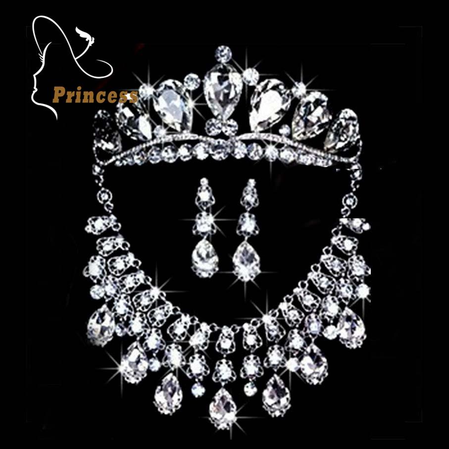 Bridal jewelry tiara - Fashion Tiara Pearls Silver Plated Crystal Choker Necklaces Earrings Crown Wedding Rhinestone Bridal Jewelry Sets B43