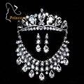 Moda tiara de pérolas de prata banhado cristal choker colares brincos coroa de strass casamento de noiva conjuntos de jóias b43 abc