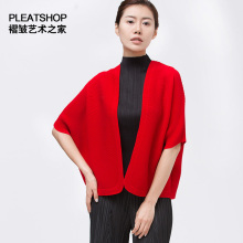17 miyake pleated top short design three quarter sleeve solid color soft elastic comfortable women's fine formal cape