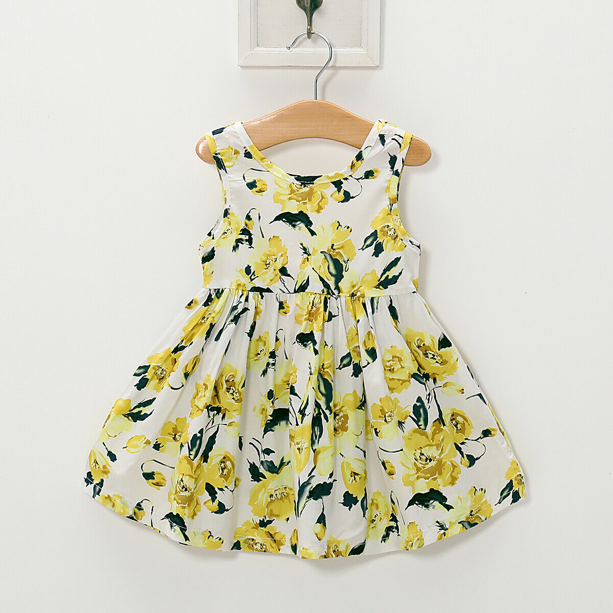Yellow Toddler Kids Baby Girl Sleeveless Floral Party Pageant Dress Sundress Children Clothes in Dresses from Mother Kids