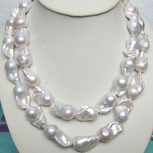"Long 32"" 12 16mm Real Natural South Classic Baroque White Akoya Pearl Necklace"