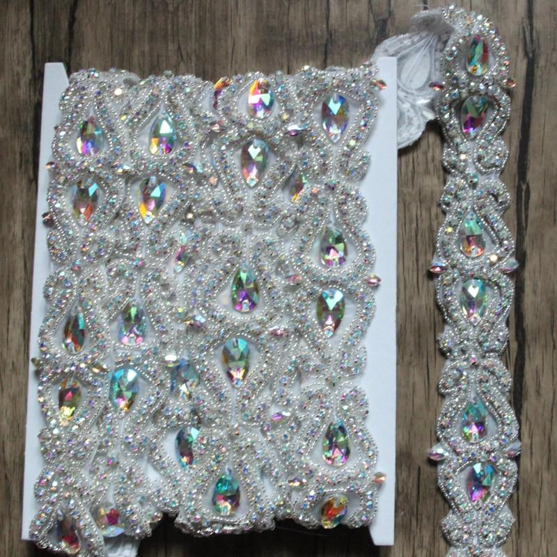Hot Sale 5yards lot Crystal AB Rhinestone Chain Bridal Sash Rhinestone Trim Flower Applique Wedding DIY