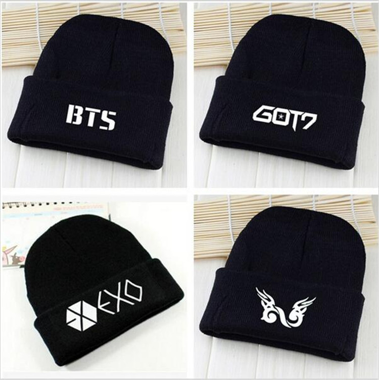 Kpop exo bts got7 vixx infinite WINNER wool cap Hedging hats k-pop bts Bangtan Boys Korean Couple Stocking hat Skullies 2017 hot sale kpop fashion harajuku bts infinite fisland boyfriend snsd bap tvxq shinee umbrella