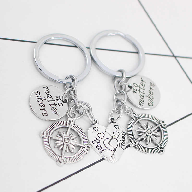 הטוב ביותר חבר אפרסק לב תפרים מפתח שרשרת 2 חתיכה סט רטרו מצפן מצפן תליון Keychain BFF ידידות מפתח טבעת תכשיטים