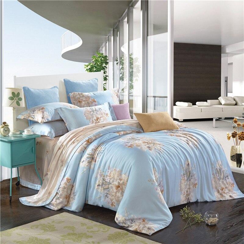 Brief Style Flowers Light Blue Soft Bedding Sets Queen King Size Silk  Tencel Fabric Bedlinens Duvet. Online Get Cheap Light Blue Bedding  Aliexpress com   Alibaba Group
