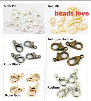 (100Pcs/lot )Pick 5 Colors Zinc Alloy Jewelry Findings 502 Lobster Clasp Hooks Vintage Jewelry Making Clasps 12mm (w02916)