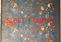 130cm wide colorful abstract embroideried black lace wedding dress cheongsam fabric S123