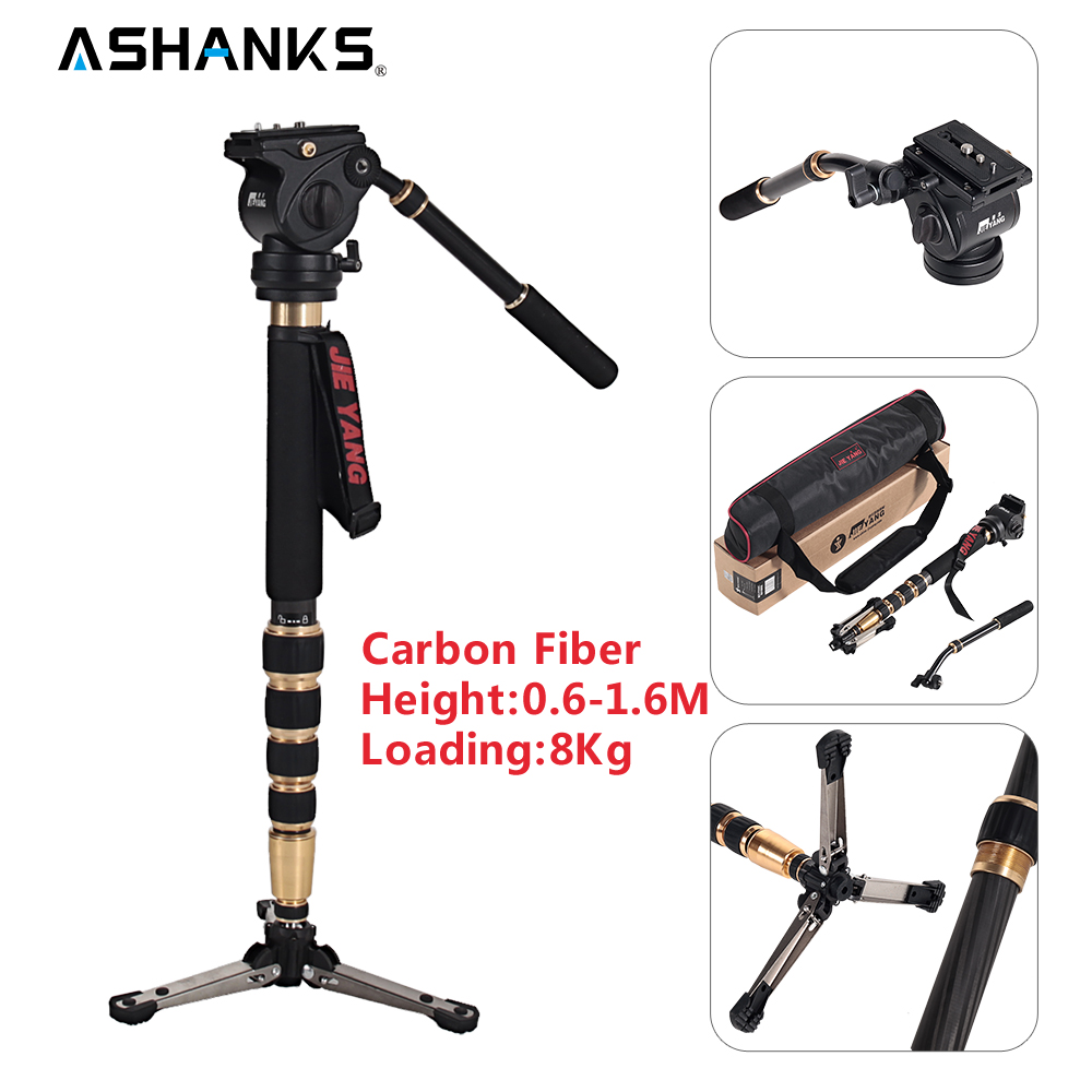 JIEYANG JY-0506C Carbon Fiber Professional Monopod Video Tripod for Camera with Tripods Head Carry Bag 1.6m/5.2ft Selfie JY0506C