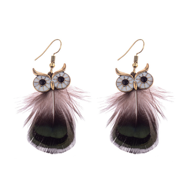 Douvei New Design Ethnic Gold Owl Shape Feather Dangle Earrings Vintage Black Drop Boho