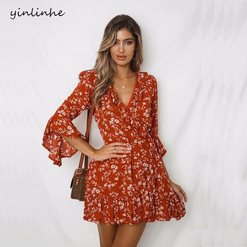 Yinlinhe Red Floral Wrap Dress Women Sexy Cotton Summer