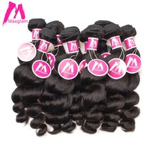 Maxglam Brazilian Virgin Hair Loose Wave Wholesale 10Pcs/Lot Unprocessed Natural Color Human Hair Weave Bundles Free Shipping(China)