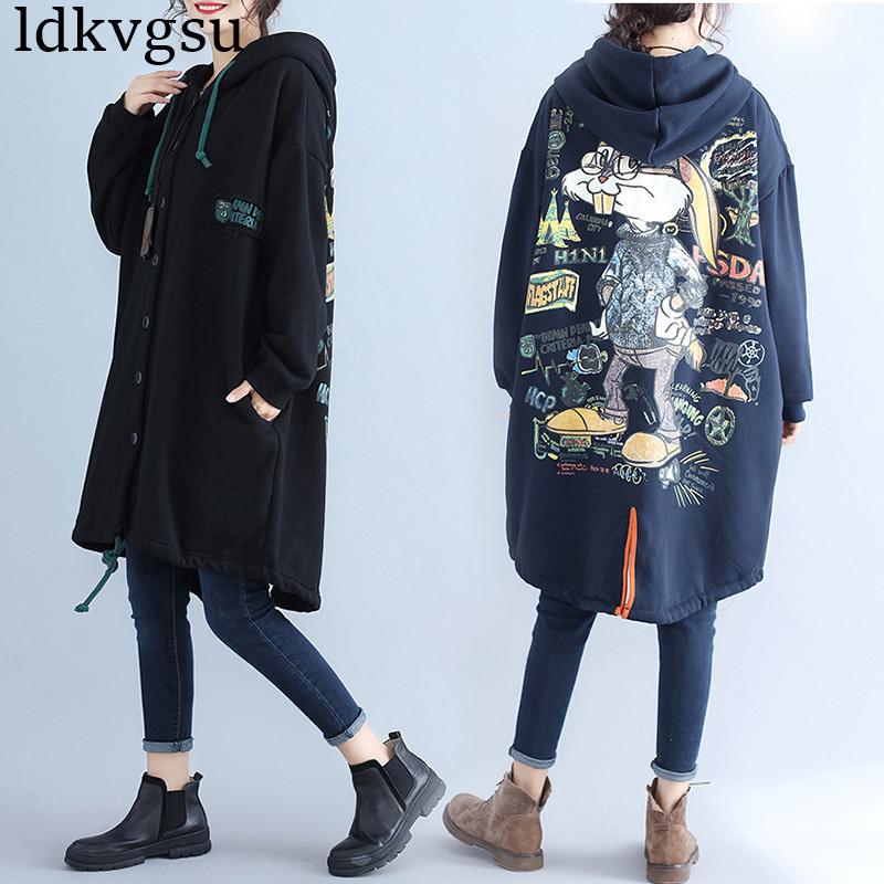 Casaco Feminino Of Cashmere Harajuku Hoodie Plus Size 2019 Autumn Winter Women Long   Trench   Coat Loose Sweatshirt OVversize V463