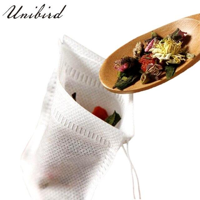 Unibird 100 cái/bộ Trà Dùng Một Lần túi vải Không dệt Vải Trà Infuser Với Chuỗi Chữa Lành Seal Lọc Giấy cho Thảo Mộc loose Lọc