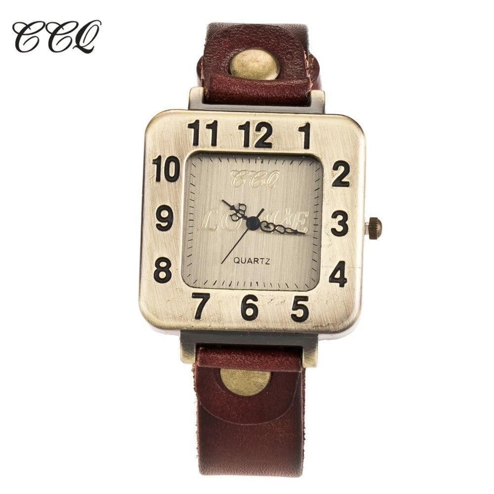CCQ Brand Genuine Leather Luxury Women Square Wristwatches Quartz Watches Relogio Feminino Best Gift цена в Москве и Питере