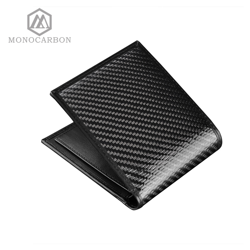 ФОТО Monocarbon Luxury Design Real Carbon Fiber Glossy Surface Pattern Leather Short Vintage Wallet Business Men Purse