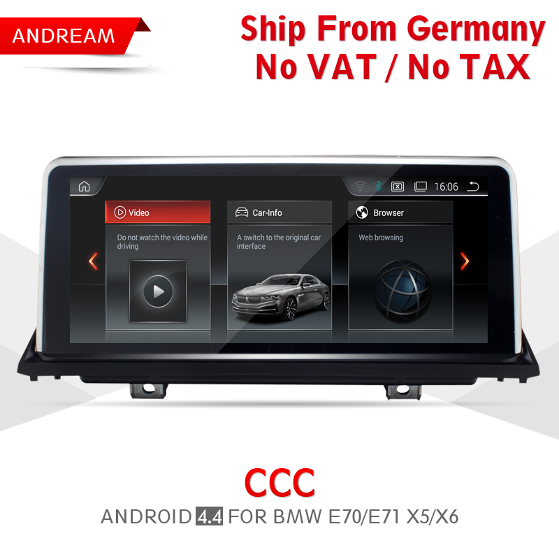 10.25 Android Screen 4.4 Vehicle multimedia player For BMW E70 E71 X5 X6 Bluetooth gps navigation Wifi Free Germany Ship EW969A