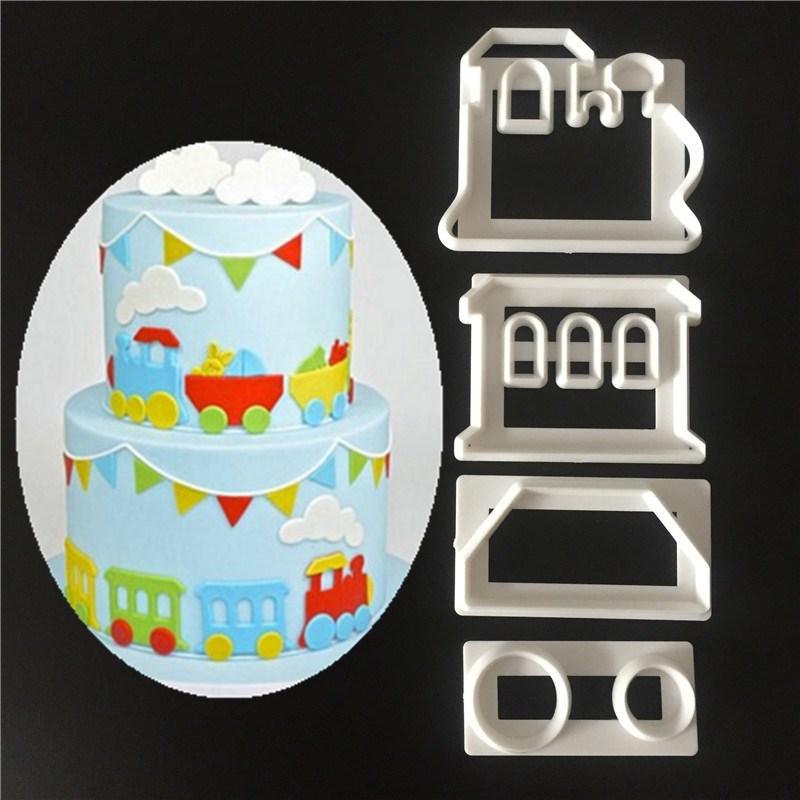 4pcs small train cut off sugar cake cake printing mold Fruit mold baking tools cake decoration molds stamping mould Biscuit cut