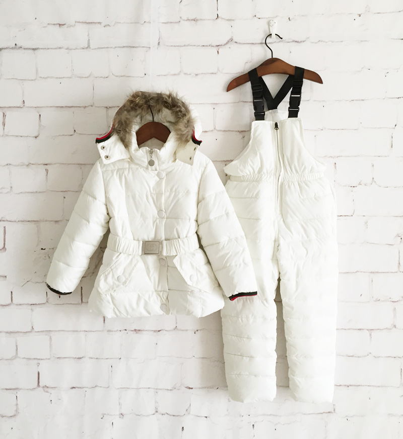 2 pcs girls winter solid warm outwear suits hoodies fur collar plus velvet cotton waist belted coat+overalls kids snowsuits