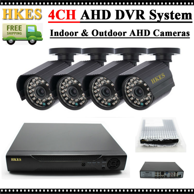 HKES HD 2000TVL 720P HD Outdoor CCTV Security Camera System 1080N Home Video Surveillance DVR Kit 4CH 1080P HDMI Output sannce hd 4ch cctv system 1080p hdmi dvr 2pcs 720p 1280tvl cctv ir outdoor video surveillance security cameras 4ch dvr kit