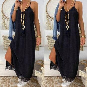 Women Sleeveless O-Neck Solid Strap Lace Sexy Flare Mid-Calf Fishtail Sheath ido sukienki jurken Loose Dress #0522