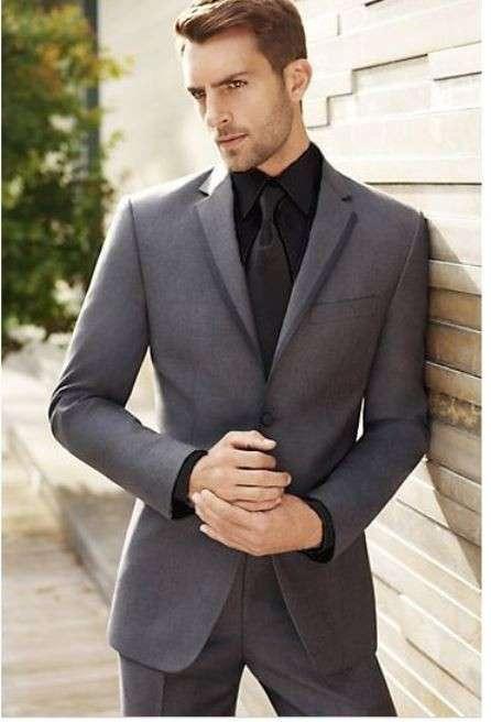 2018 Custom New Grey Men Suit Formal Skinny Wedding Tuxedo Groom Prom Blazer Marriage Gentle