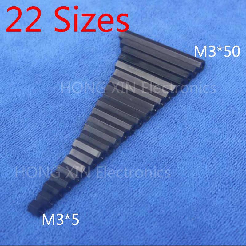 M3 * 24 สีดำ 1 Pcsไนลอน 24 มม.HexหญิงStandoff Spacerเกลียวหกเหลี่ยมSpacer Standoffพลาสติกspacerคุณภาพสูง