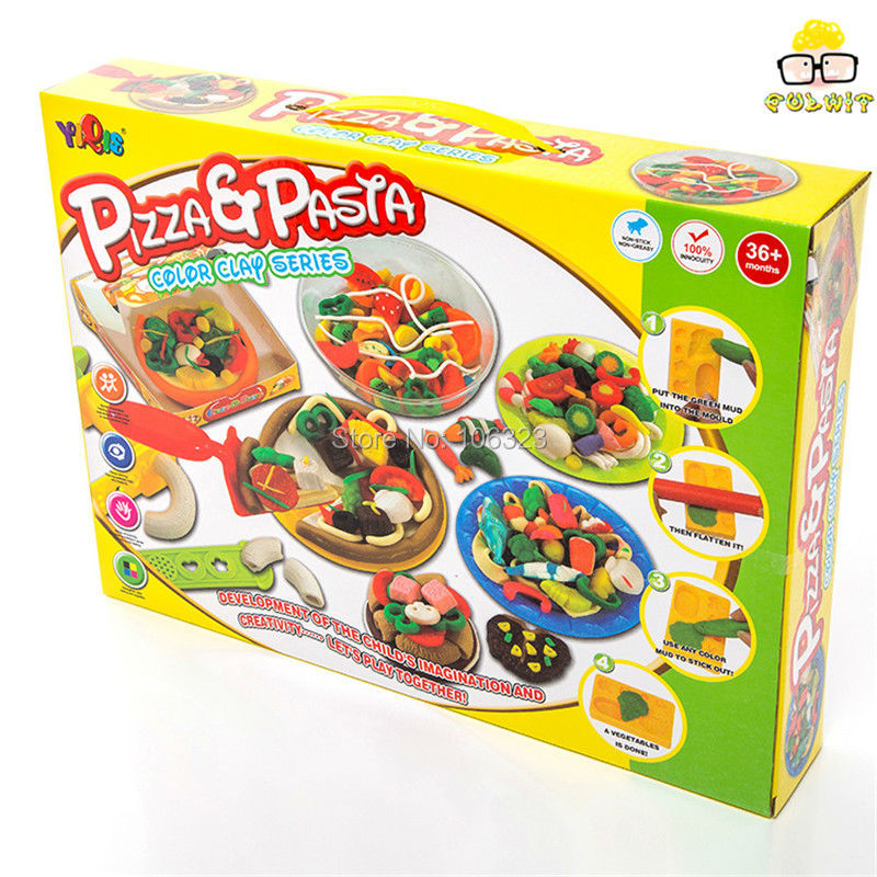 Colours Pizza & Pasta 3D DIY Model Plasticine, Kid Handmade Educational Toys, Fun Creative Play Dough,Environmental Plastic Clay ...