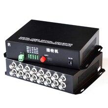 1 par 2 peças/lote 16 canais de vídeo conversor óptico 16v1d fibra óptica vídeo transmissor óptico & receptor 16ch + rs485 dados