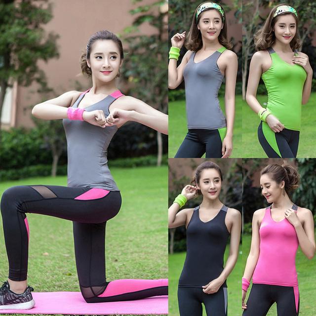 Topos de fitness Verão 2016 Mulheres de Slim Sem Mangas Acolchoado T-Shirt de Fitness Colete Roupa De Treino de Fitness Top Sem Mangas Para As Mulheres