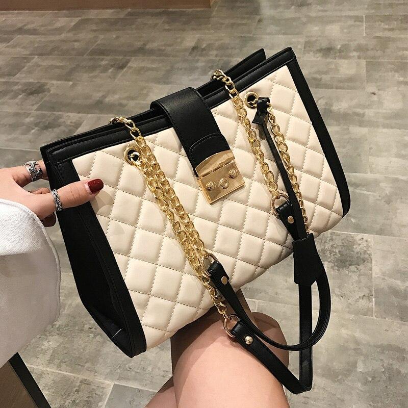 2019 Neuer Stil Big Bag Frauen 2019 Neue Koreanische Mode Welle Stickerei Gewinde Rautenförmige Tasche Kette, Wilden Schulter Tasche