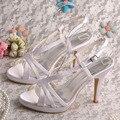 Wedopus Dropshipping Дамы Оригинальные Сандалии Белый Атласной Ткани Женщины Свадебные Туфли 10 СМ Каблук