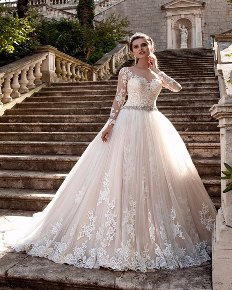 Champagne Vintage Wedding Dresses: Vestido De Noiva 2017 Champagne Lace Wedding Dress Vintage