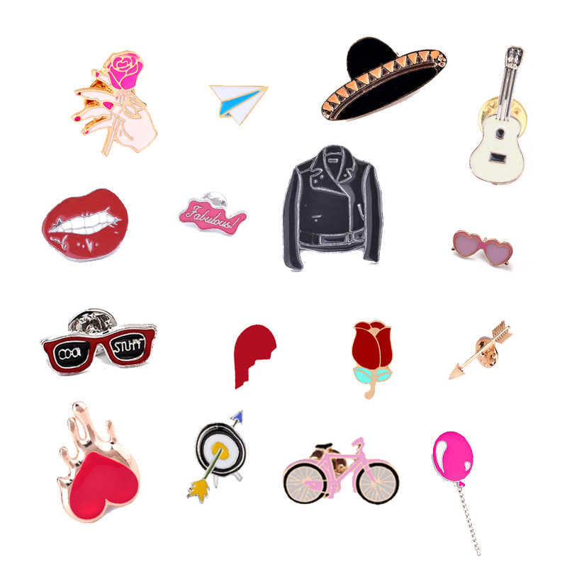 Fashion Denim Shirt Jewelry Pin Women Men Enamel Pins Metal Sunglasses Hat Guitar Flower Brooches Bag Accessory Special Gift Kid