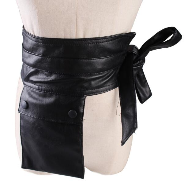 Women's Runway Fashion PU Leather Pocket Cummerbunds Female Dress Coat Corsets Waistband Belts Decoration Wide Belt R1113