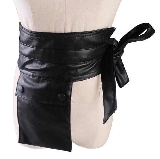 Women's Runway Fashion PU Leather Pocket Cummerbunds Female Dress Coat Corsets Waistband Belts Decoration Wide Belt R1113