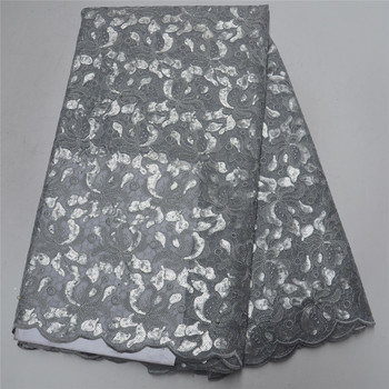 (5yards/pc) Wonderful handcut African organza lace fabric with details flowers embroidery and sequins for party dress And beads