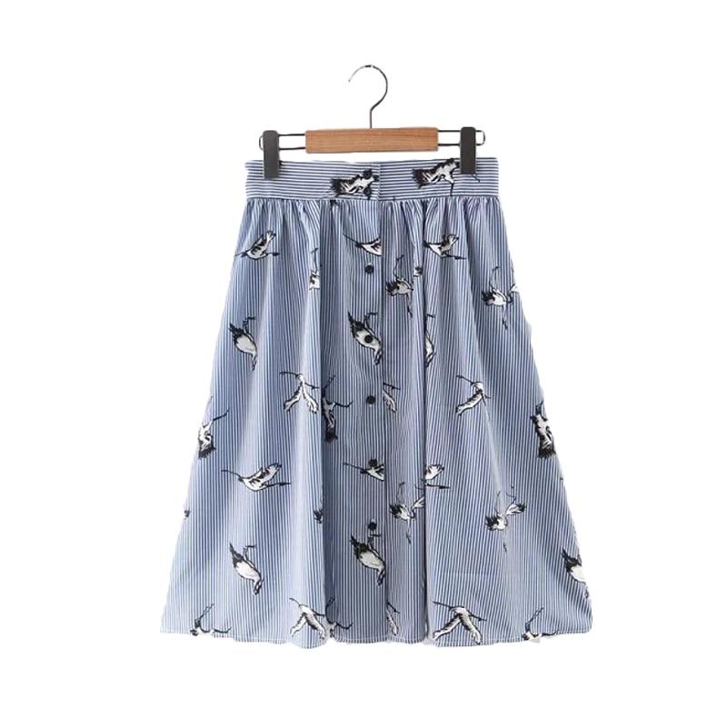 Женщины sweet птицы печати середины икр полосатые юбки открыть стежка кнопки дизайн летом случайные уличной юбки bsq476
