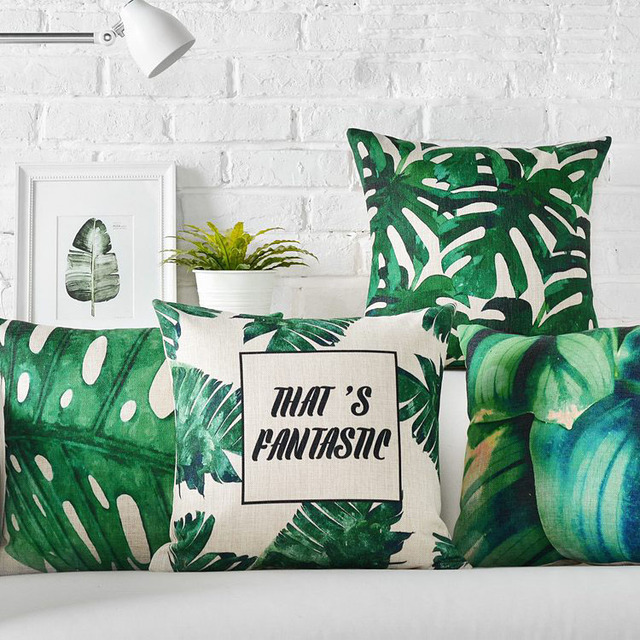 Grün Kissenbezug Home Decor Tropical Dekorative Kissen Fall Blätter
