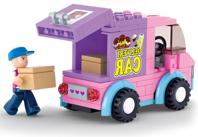 SLUBAN City Supermarket delivery truck Building Blocks Sets Bricks Model Kids Children girl gifts Toys Compatible Legoe lepin 02012 city deepwater exploration vessel 60095 building blocks policeman toys children compatible with lego gift kid sets