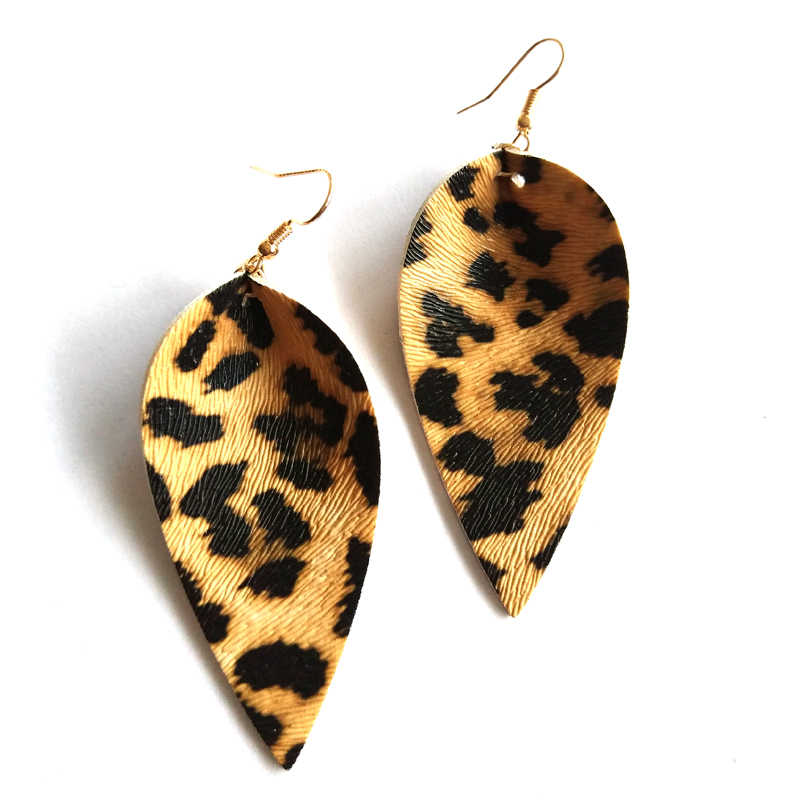 2018 New Jewelry Teardrop Genuine PU Leather Leaf Leopard Earrings