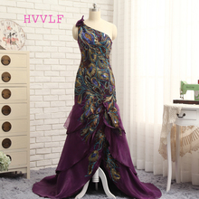 Purple Evening Dresses 2017 Mermaid One-shoulder Chiffon Feather Silt Sexy Long Evening Gown Prom Dresses Prom Gown