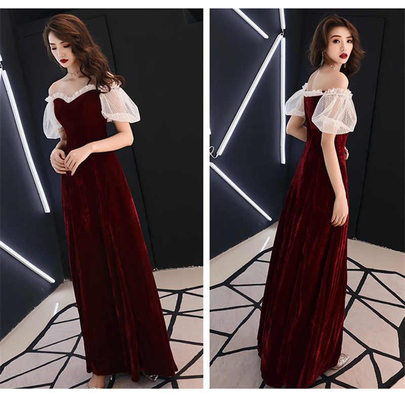 ערב שמלות כבוי כתף ארוך נשים המפלגה שמלת תחרת סירת צוואר Robe דה Soiree בתוספת גודל קצר שרוול שמלה לנשף 2019 E475