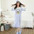 Novas Mulheres Chegada Outono Roupa Adorável Pato Longo-luvas de Algodão da menina Camisola Sleepwear Plus Size 2XL