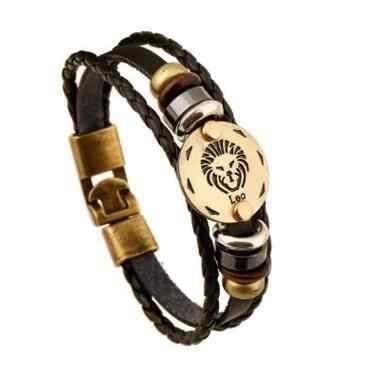 Moda brązowy klamry ze stopu 12 znaków zodiaku bransoletka Punk skórzana bransoletka Drewniany koralik + czarny kamień szlachetny dla mężczyzn urok biżuterii