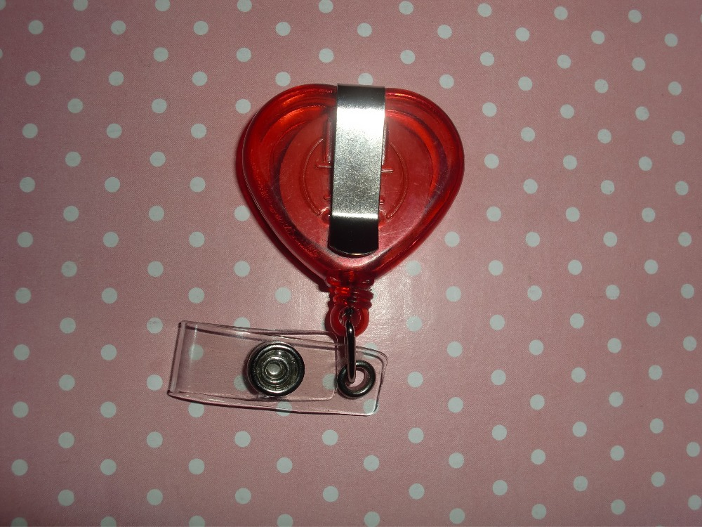 Red color Love Heart  Shape  Heart Beating Nurse Dotcor  Retractable ID Badge Reel  5pcs