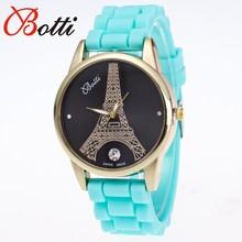 New Fashion Designer Eiffel Tower Ladies Luxury brand quartz watch for women jelly silicone watch 10 colors relogio feminino