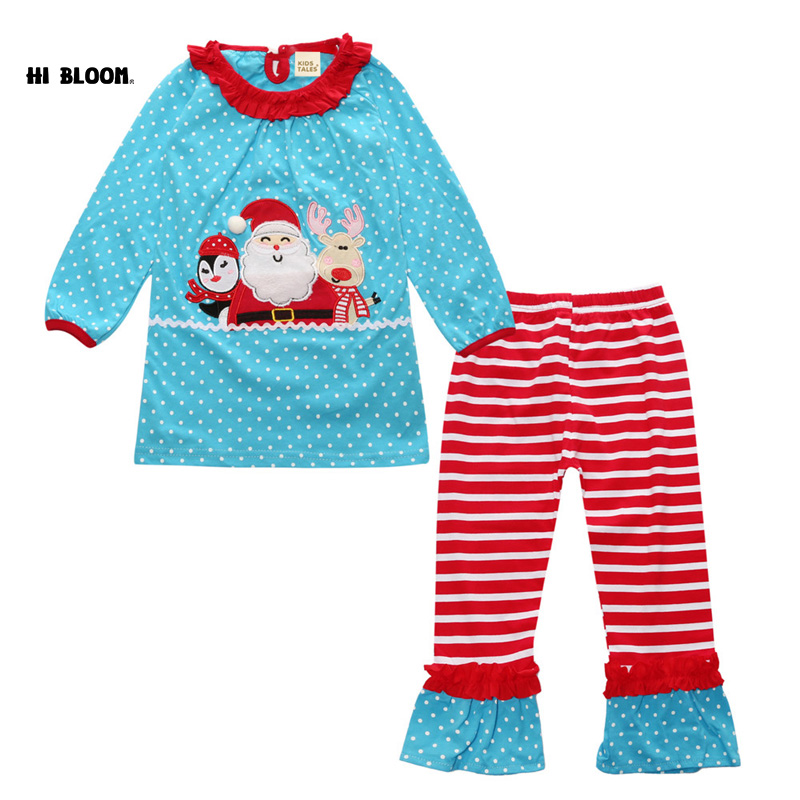 Promotion Price Christmas Costume Pajamas Home Wear Children Christmas Clothing Loose roupas infantis menina Santa Claus Clothes
