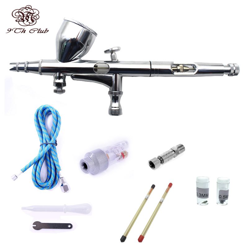 Mini Dual Action Airbrush Kit de aer comprimat 0.2 / 0.3 / 0.5mm ac perie spray pistol pentru machiaj Model Nail Body Paint Art SP180K